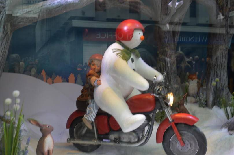Snowman and James on Motorbike