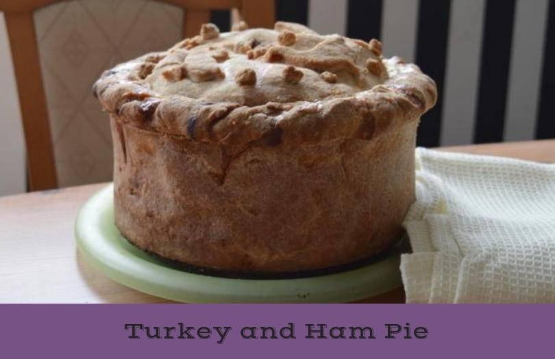 Hot water crust turkey and ham pie
