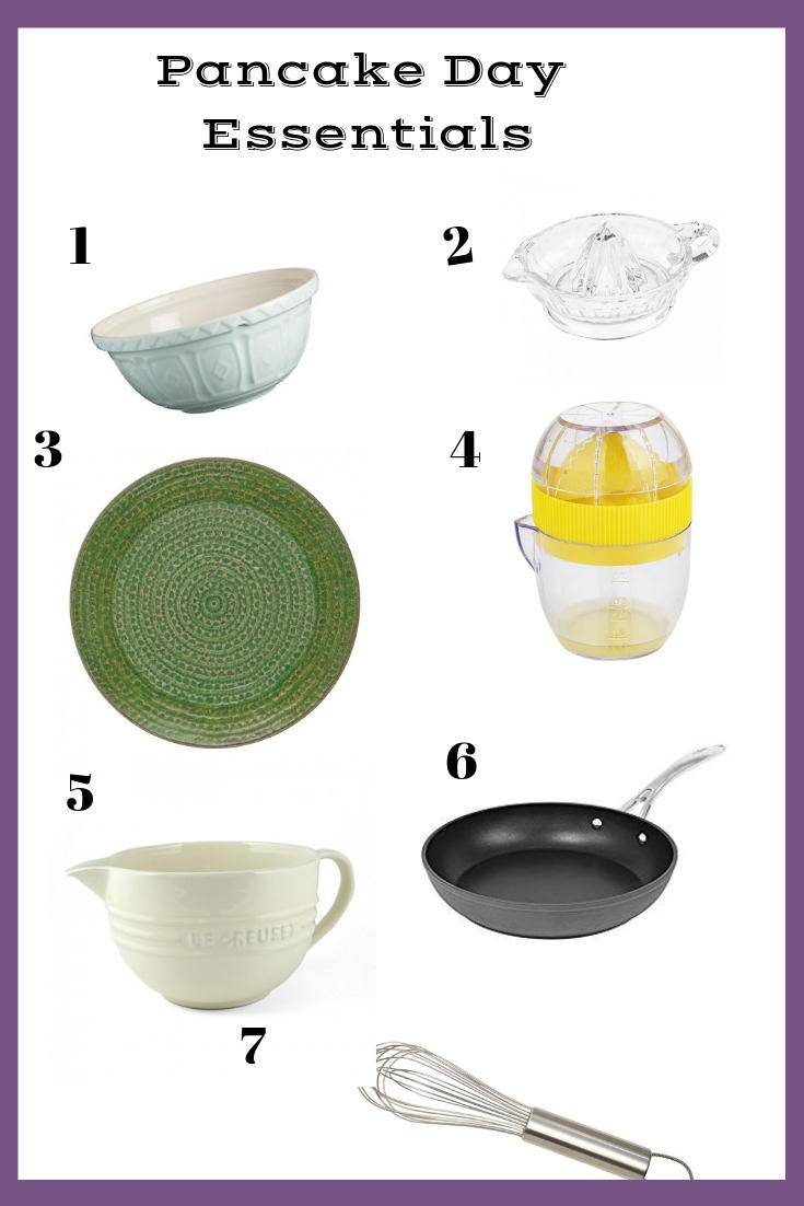 A selection of useful products for making pancakes