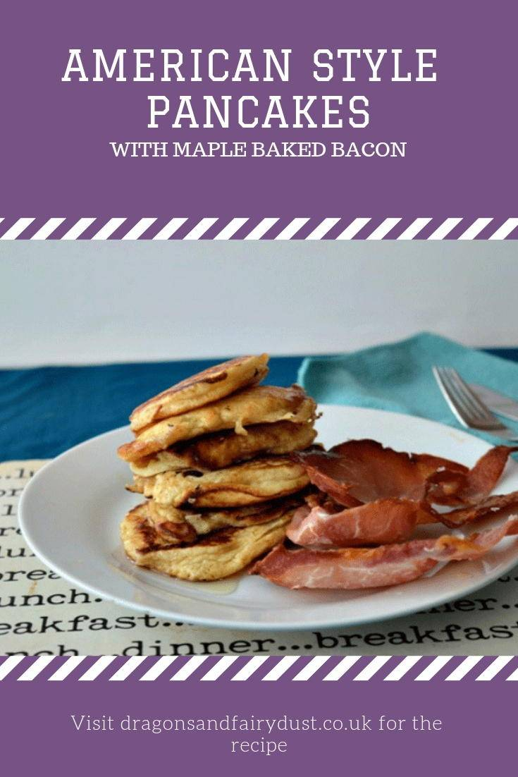 American pancakes with crispy bacon