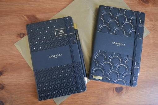 Castelli diary and notebook on a desk