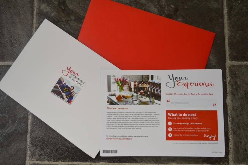 Red letter days voucher for afternoon tea at Revolution