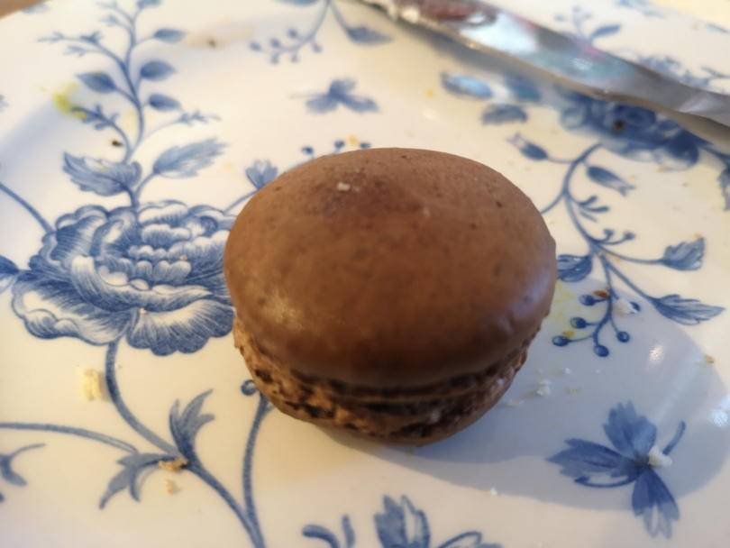 Chocolate macaroon on a plate