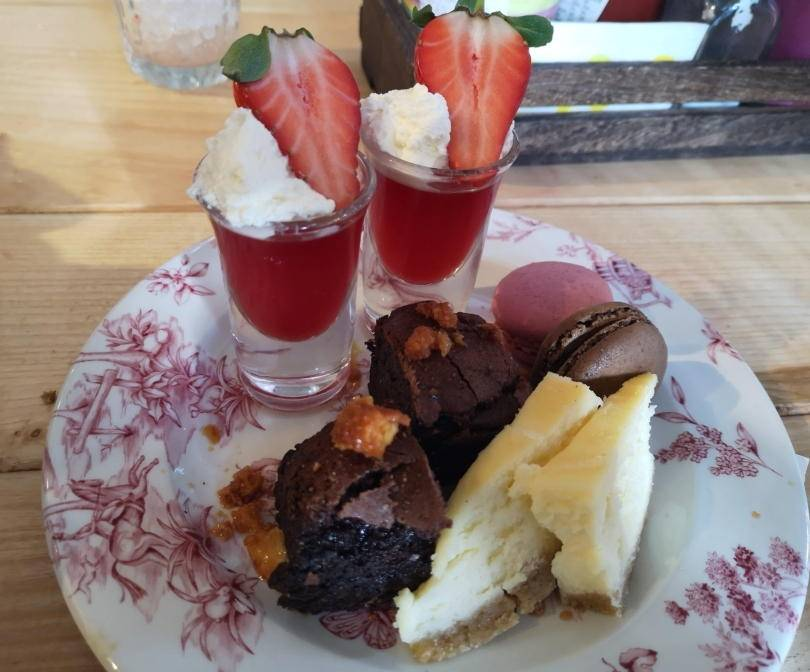 cakes on a plate for afternoon tea
