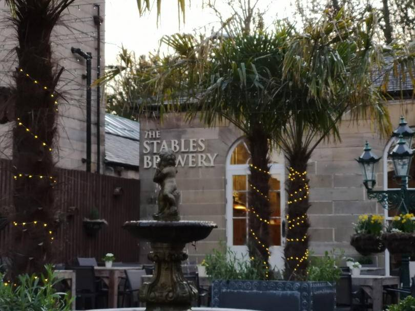 The outside of the brewery at Stables restuarant