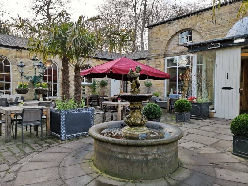 The courtyard at Stables restuarant