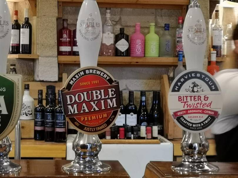 Beer pumps in stables restaurant
