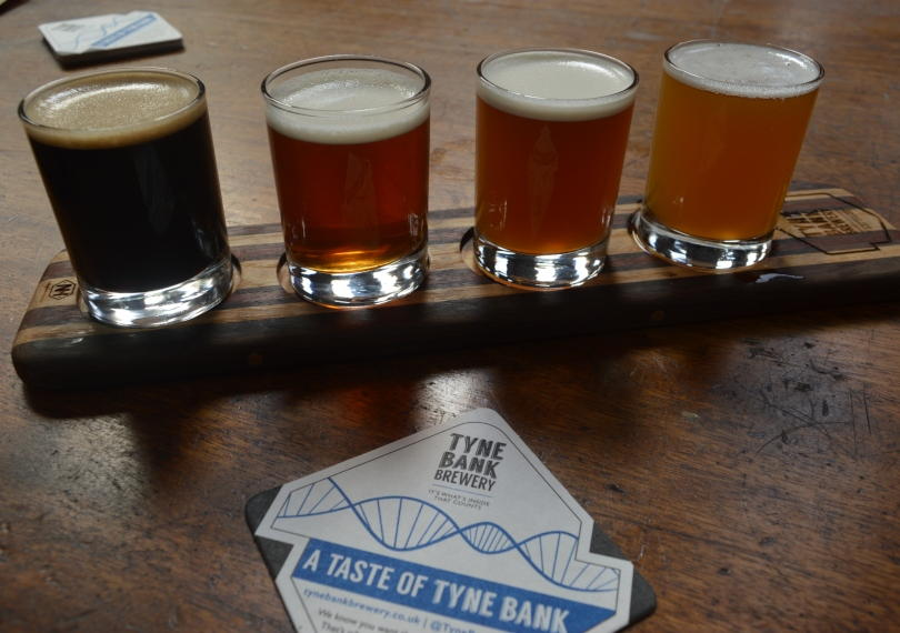Tasting platter of beer from Tyne Bar Brewery