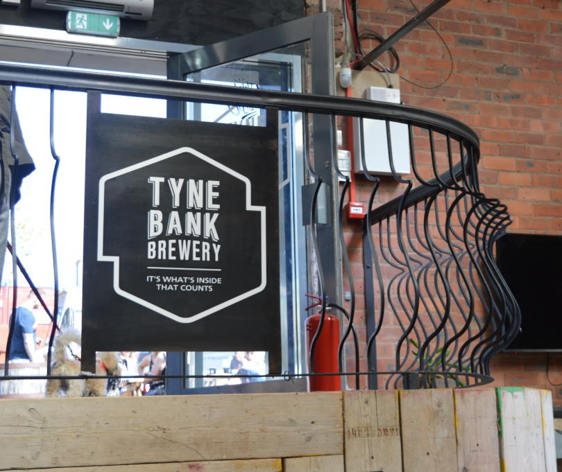 The stairs at Tyne Bank Brewery with brewery sign