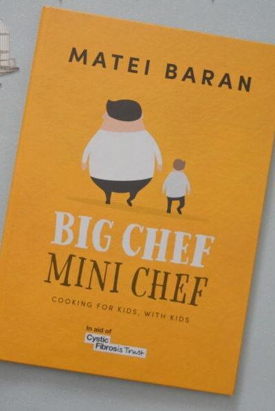 Big chef mini chef cookbook on a table