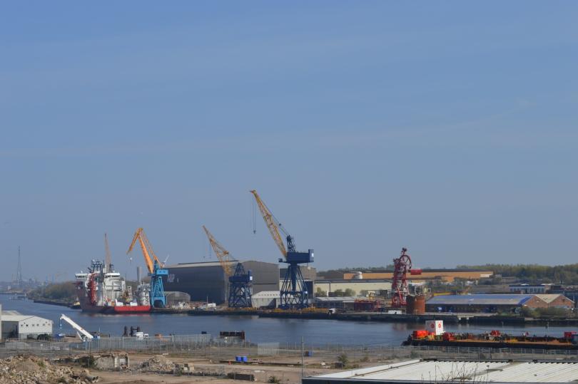 Swan Hunter shipyards seen from Segedunum