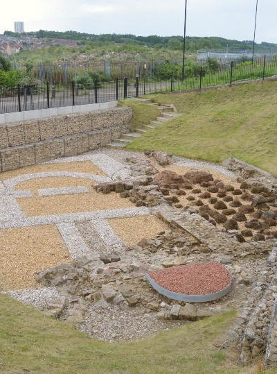 Looking down at the excaveted Roman baths at Segdunum