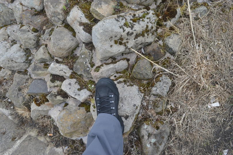 Lowa walking boots in foot on Hadrians wall