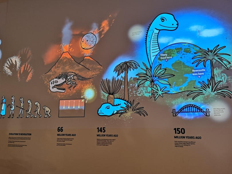 Projections on the back wall of the Dippy on tour exhbition showing his discovery