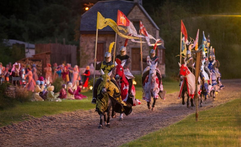 Knights on horseback with banners