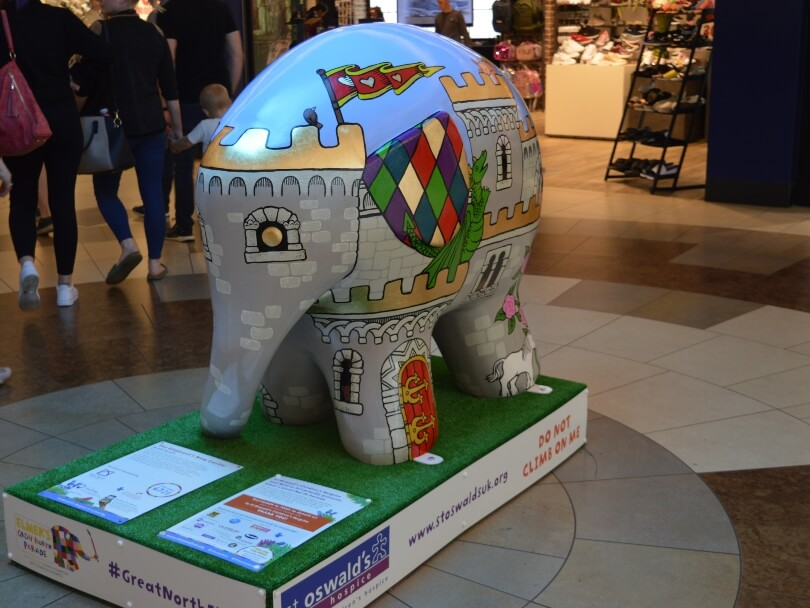 elephant decorated like a castle on Elemers great north parade