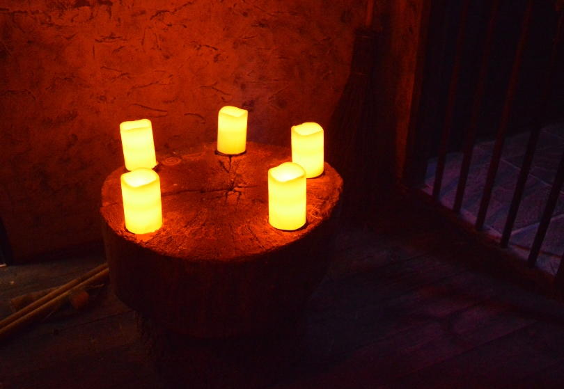 Candles burning on a table