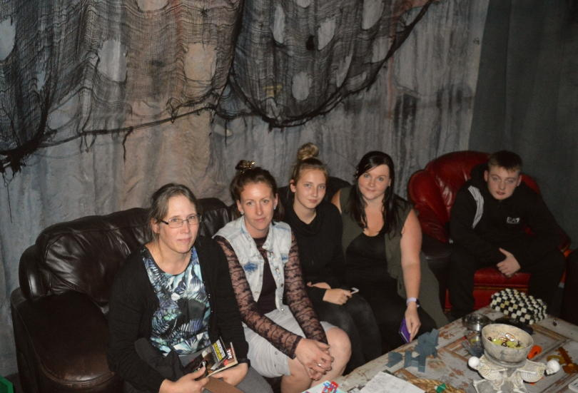 All of us sitting on a sofa after completing the escape room at the Escape Key Newcastle