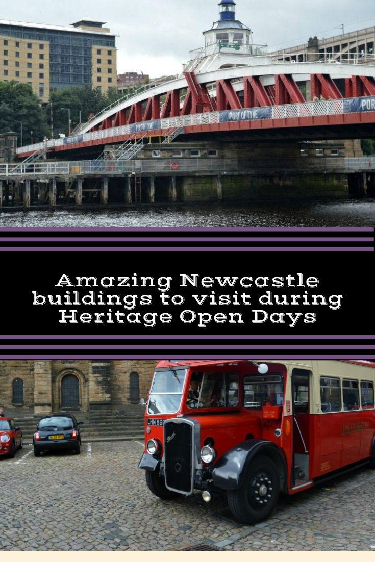 Amazing buildings you can visit during the Heritage Open Days - shows the Swing Bridge and a Vintage bus in front of Newcastle Castle