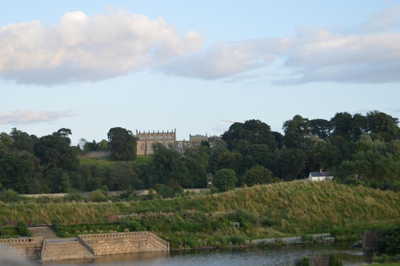 The stage at Kynren with Bishop Auckland castle in the background