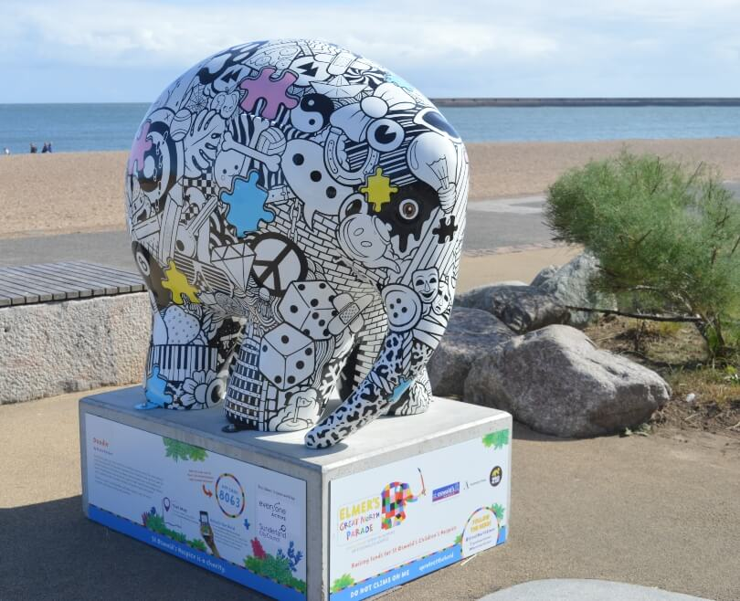 Elemer elephant decorated with doodles