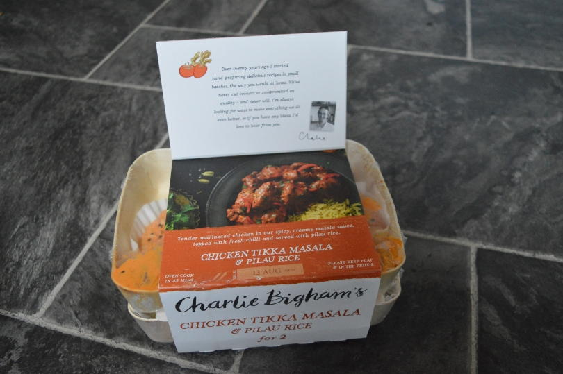 Charlie Bigham's chicken tikka masala with pilau rice in a pack