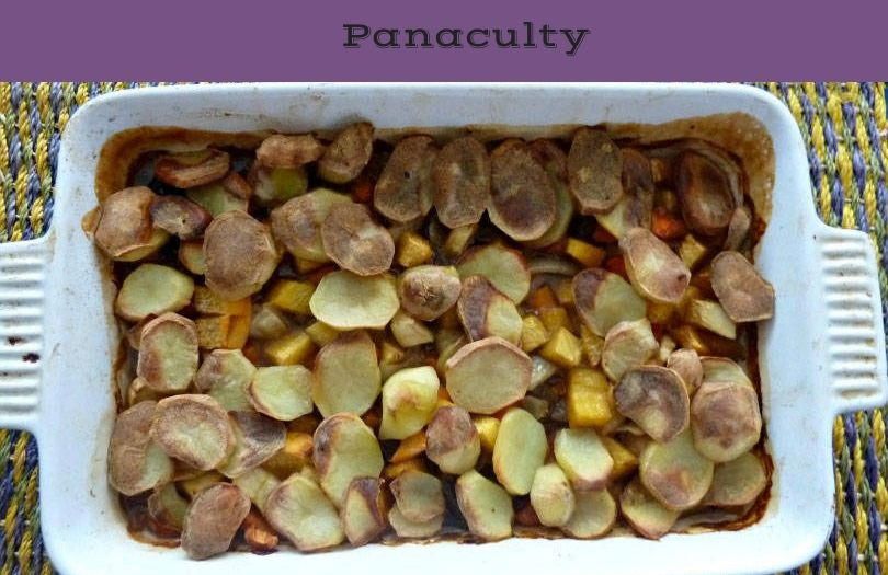 Panaculty, a dish with meat and root vegetables in a dish with sliced potatoes on top