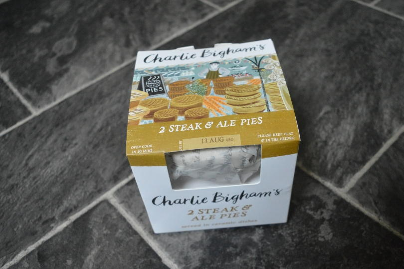 Charlie Bigham's steak and ale pie in the box