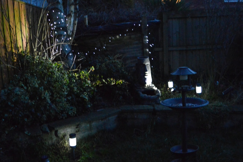 Solar lights installed in a garden, path lights on the path and fairy lights in the backgroung