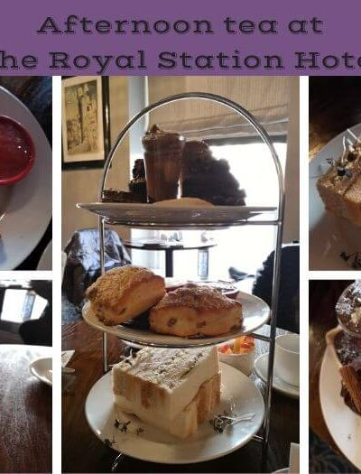 A collage of images showing afternoon tea at the Royal Station Hotel in Newcastle