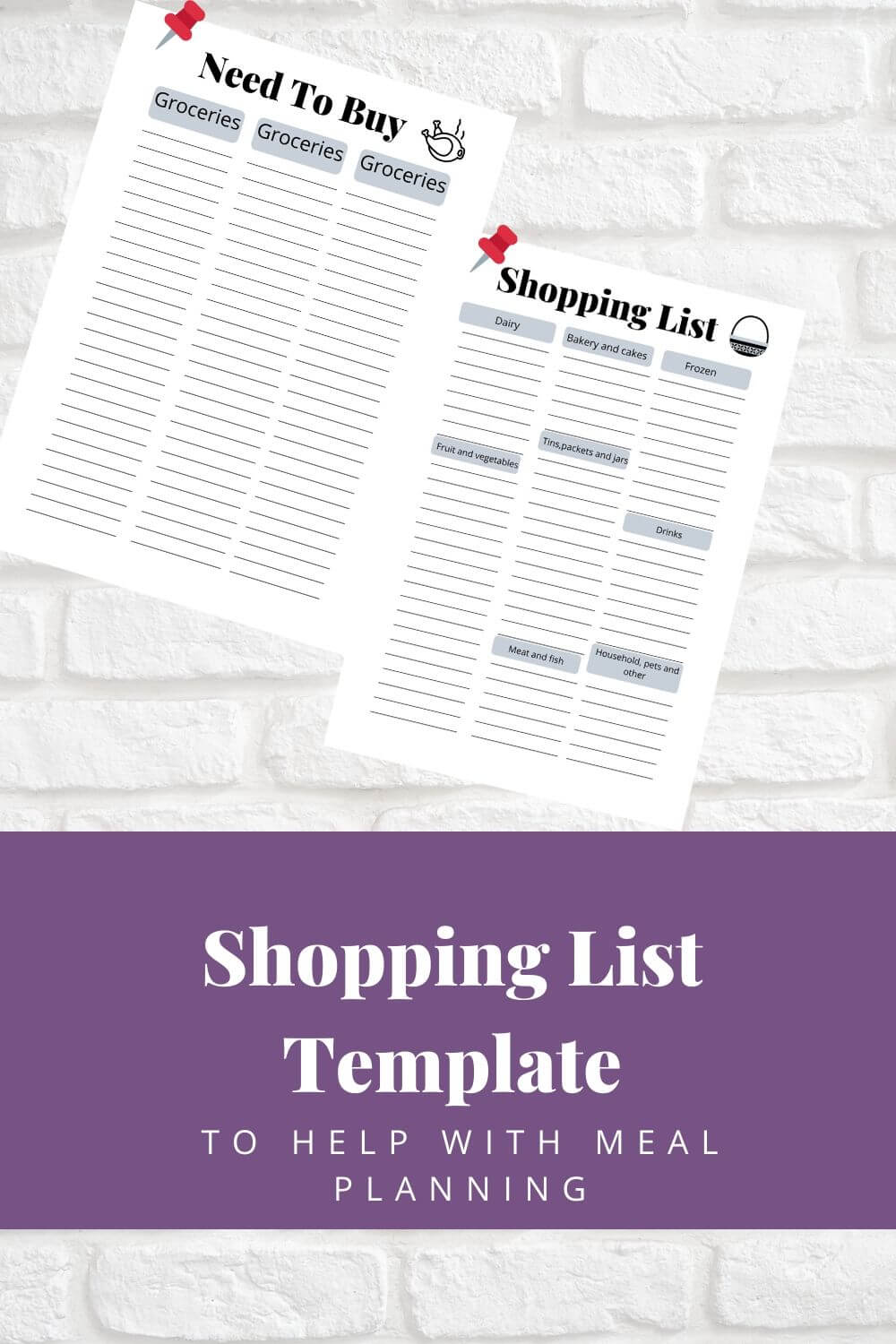 Printable shopping list templates so you get everything you need when you go to the shops