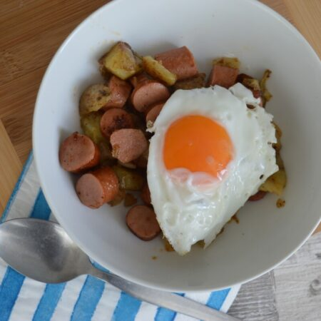 hot dog hash in a bowl