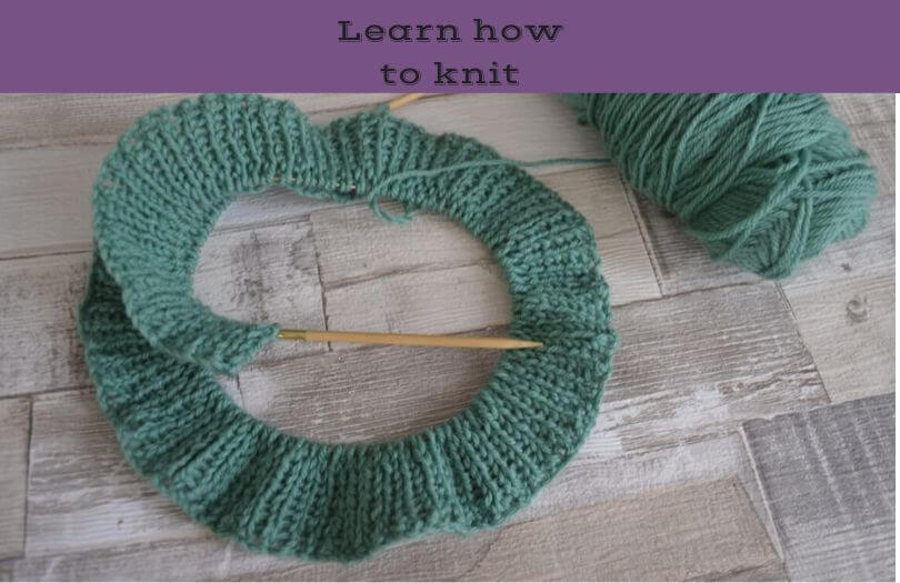 Some knitting in rib stitch on circular needles. Why not learn how to knit?