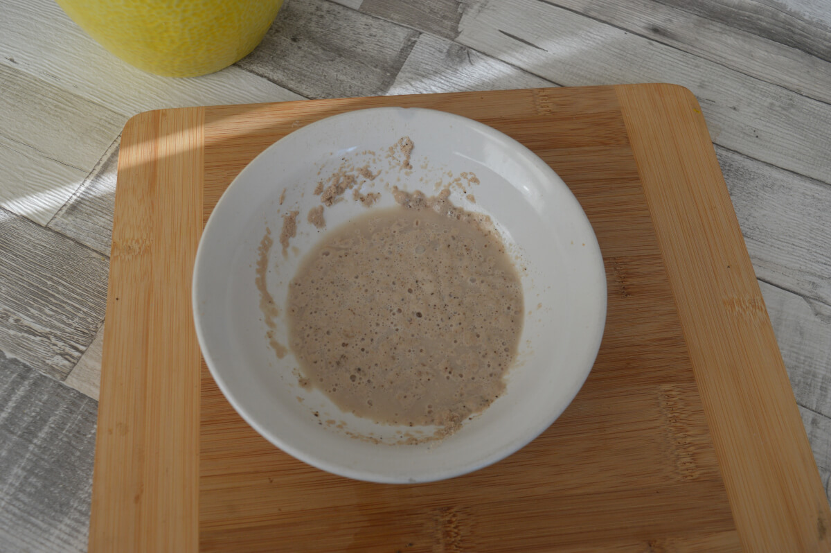 Yeast, sugar and water in a bowl