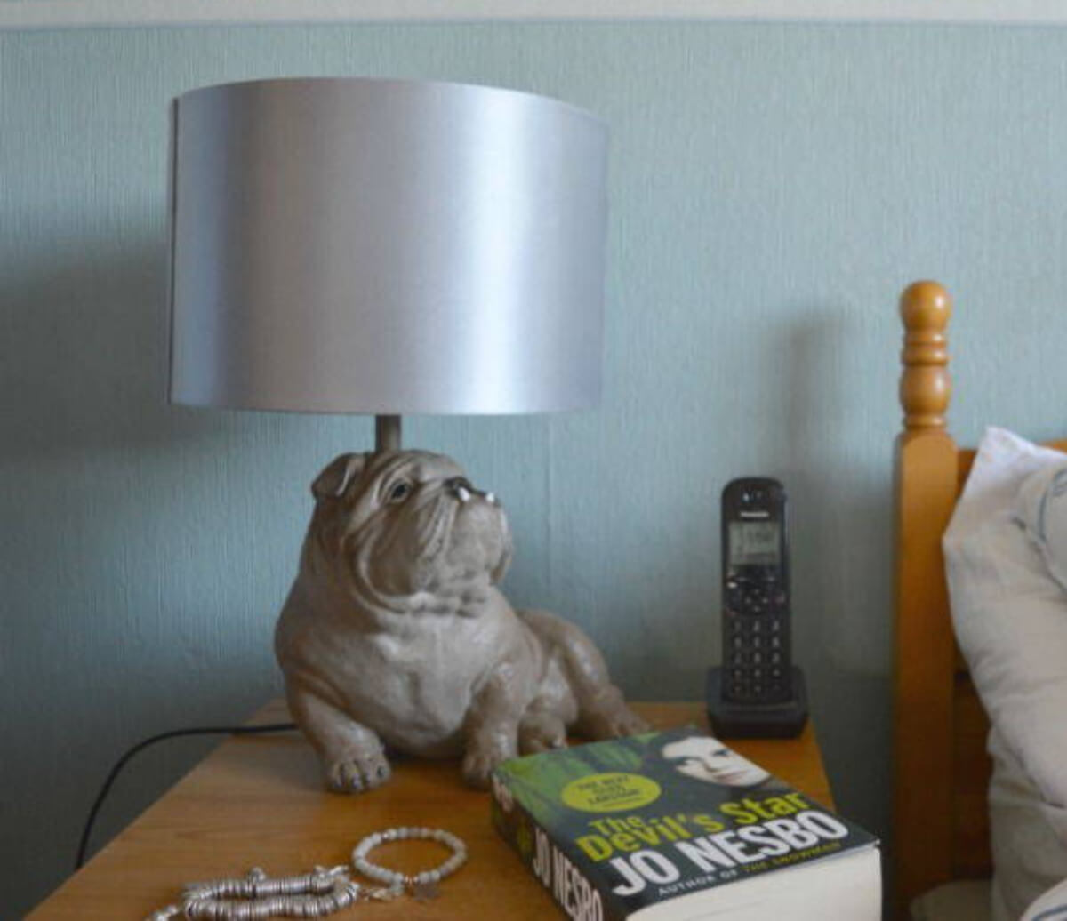 Lamp on a bedside table
