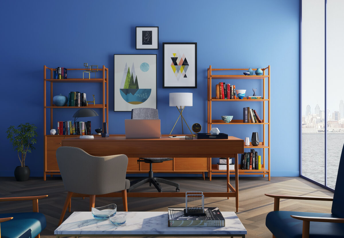 A blue living room with shelves and a table
