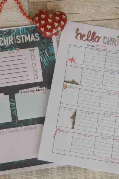 Two chrstmas planners on a table