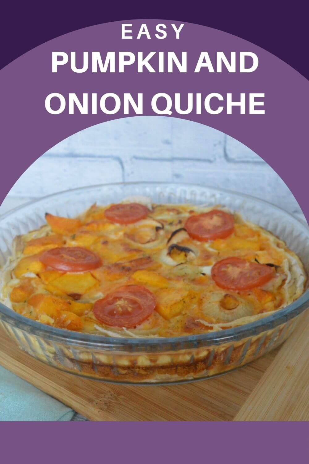 This pumpkin and onion quiche is easy to make and full of flavour.