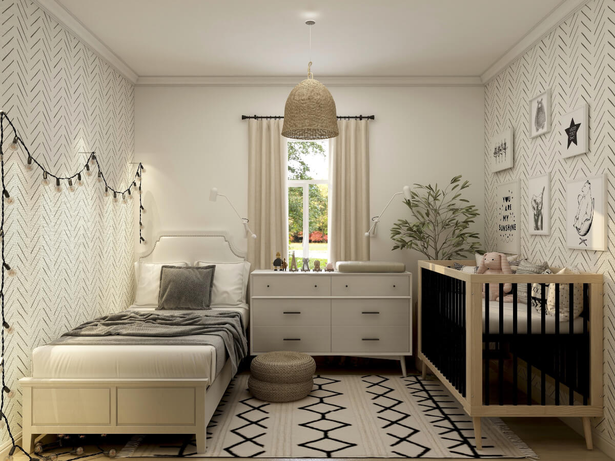 A kids bedroom with a cot and a single bed with a chest of drawers in the middle.