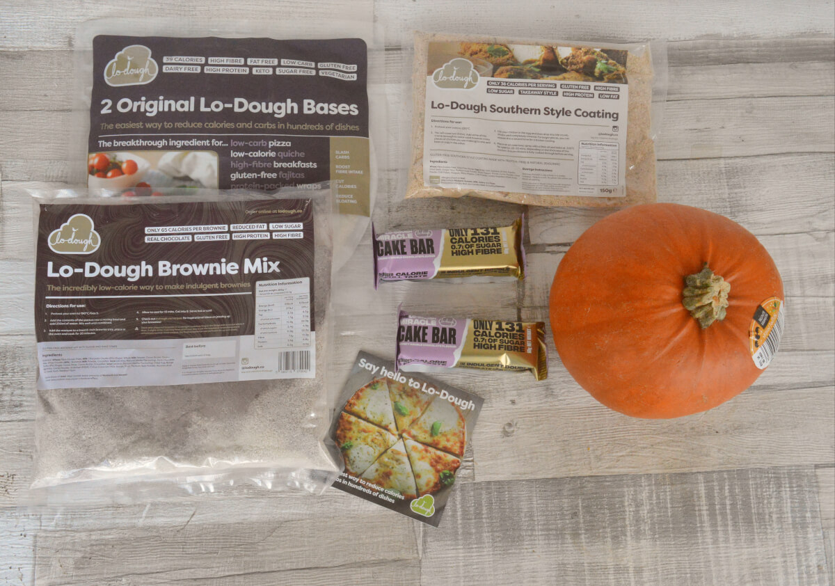 Lo-Dough products on a table with a pumpkin