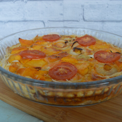 Pumpkin and onion quiche