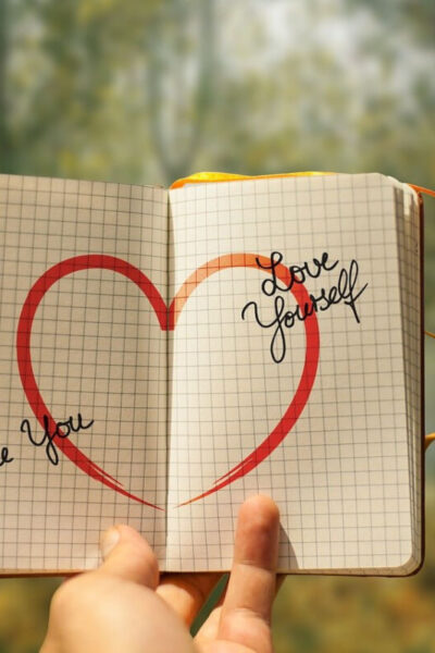 heart drawn on notebook