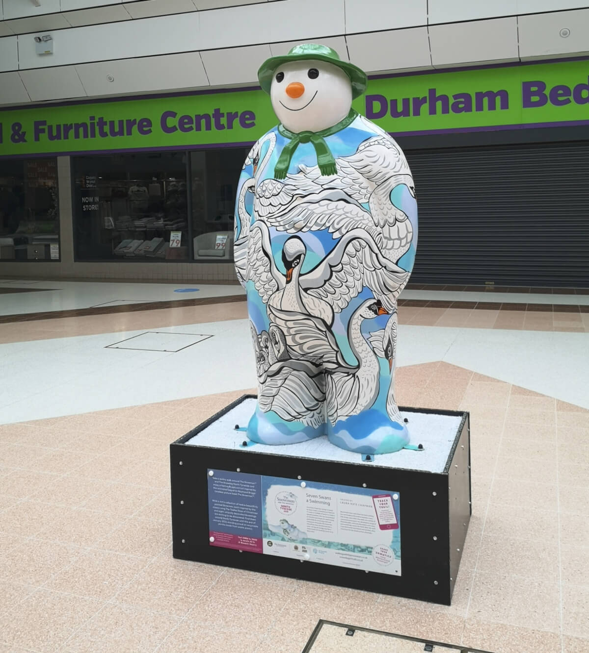 Snowman sculpture in Wallsend Forum, This one represents seven swans a swmming