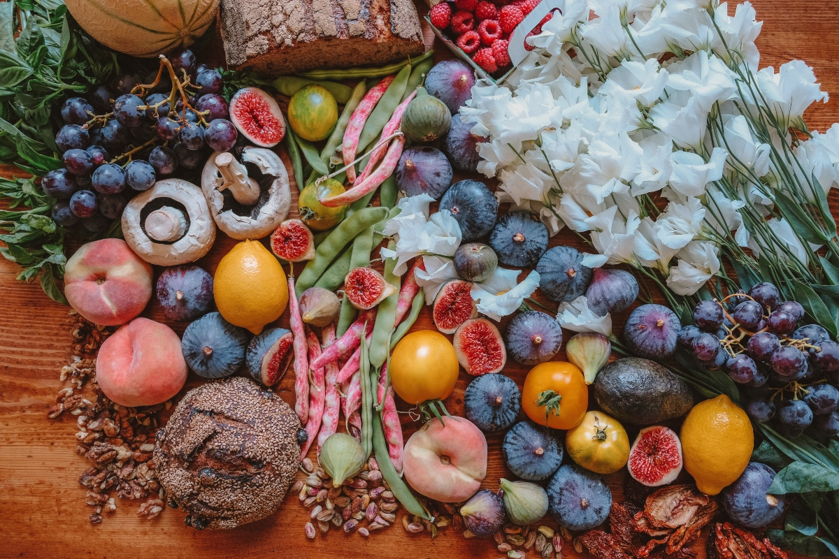 Selection of fruit and flowers to show how to reduce food waste