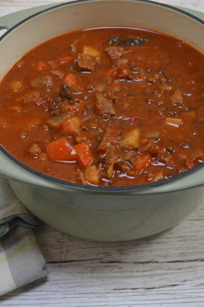 lamb and lentil stew in a casserole dish