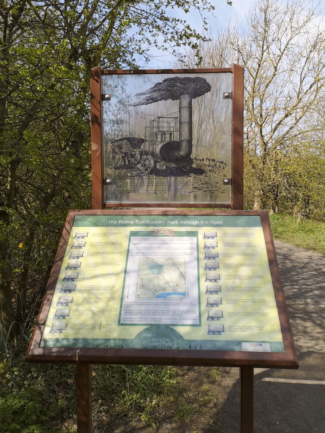 Waggonways path at the Rising Sun park, an information board showing the steam trains that were tested here.