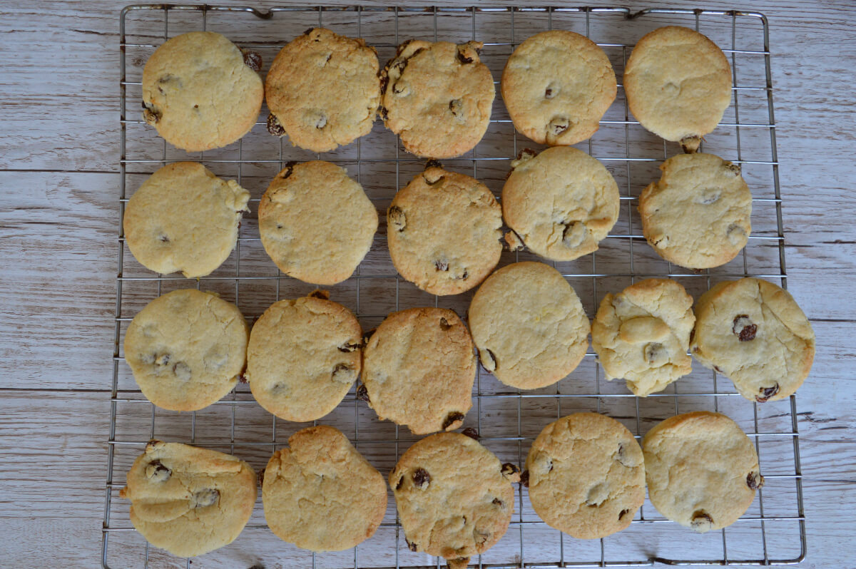 lemon and sultana biscuits cooling on a cooling rack