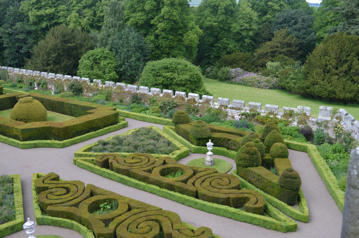 View of Chillingham gardens from the roof, ornate hedges and paths can be seen